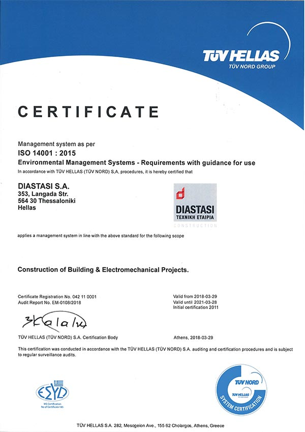 Certificate - ISO14001